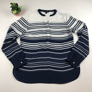 Banana Republic | Navy Striped Long Sleeve Blouse